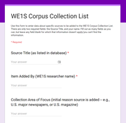WE1S Corpus Collection Form